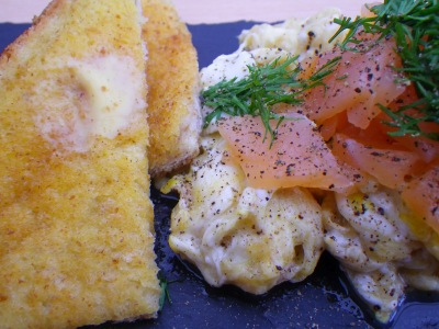 Scrambled Eggs with Smoked Salmon & Dill - image