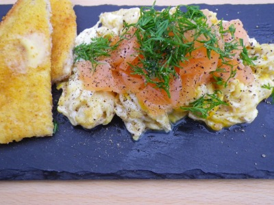 Scrambled Eggs with Smoked Salmon & Dill