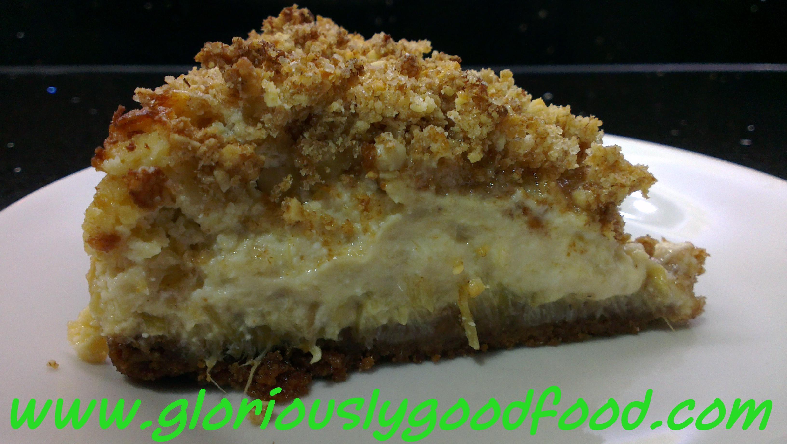 Food Glorious Food Recipes | Rhubarb and Ginger Crumble Cheesecake