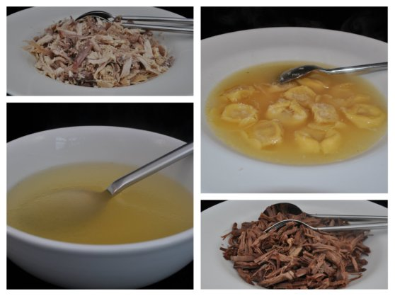 Clockwise, starting top left: Strips of hen meat with olive oil & salt, Tortellini in Brodo, Strips of beef with olive oil & salt, Hen Broth on its own