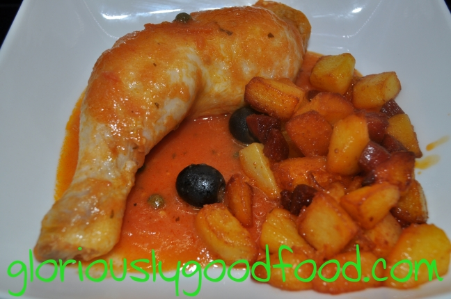 Chicken with James Martin soup sauce and chorizo potatoes