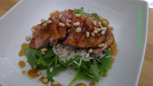 Warm Duck and Pine Nut Salad with Wild Rice and an Orange and Balsamic Vinegar Dressing