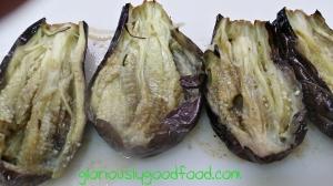 Sliced roasted aubergines for Baba Ganoush