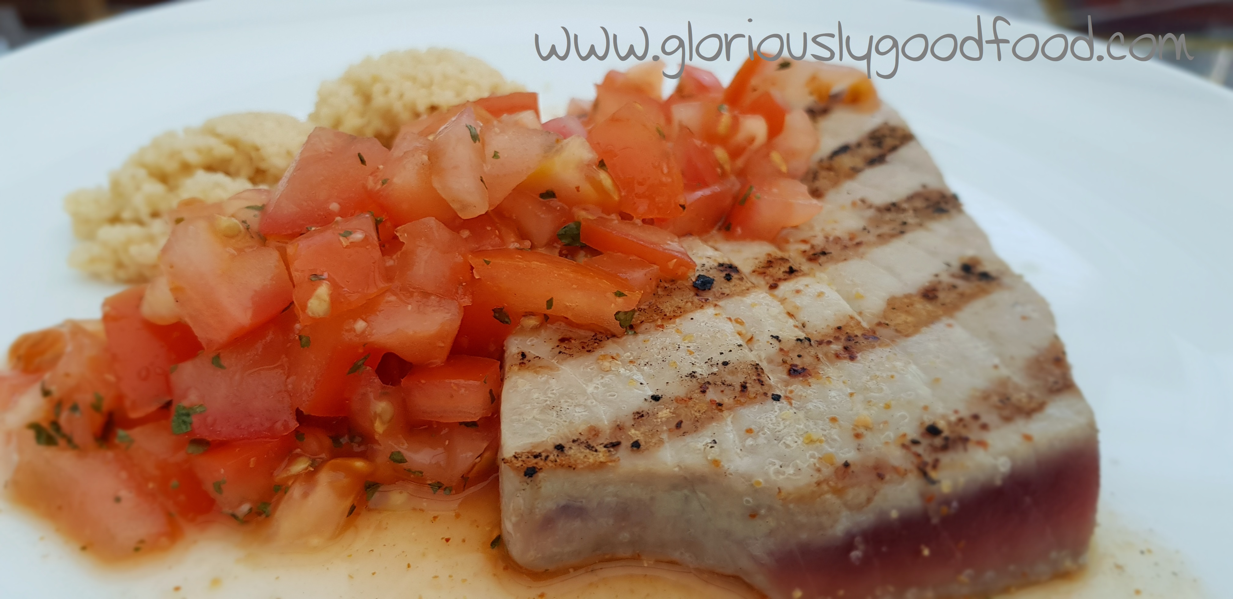 seared tuna steak with salsa and cous-cous