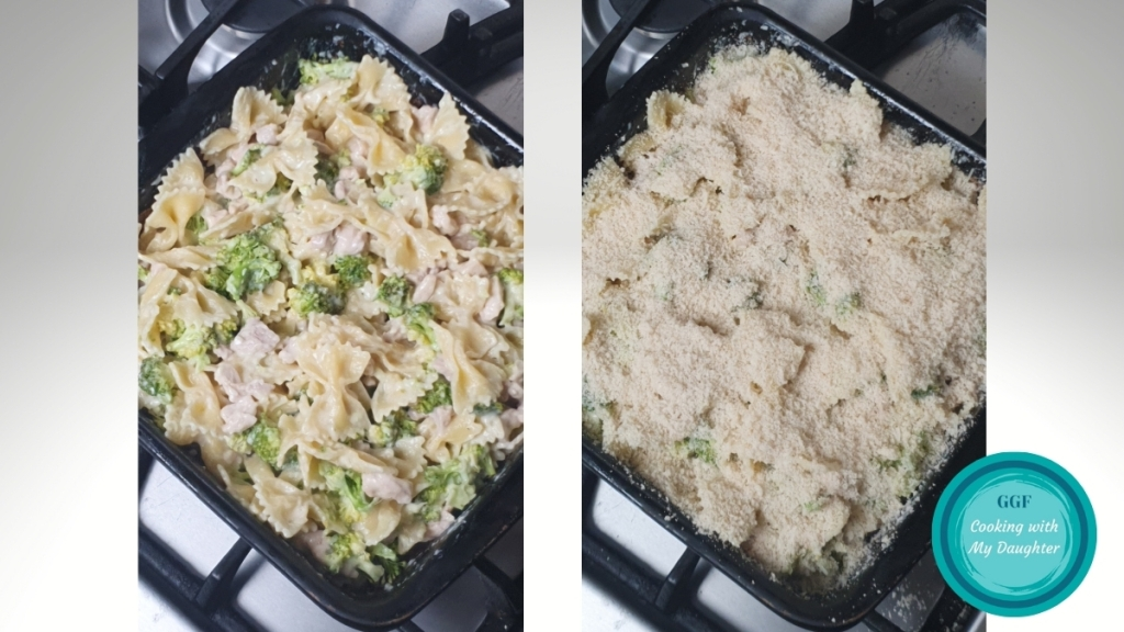 Chicken and Broccoli Pasta Bake before baking