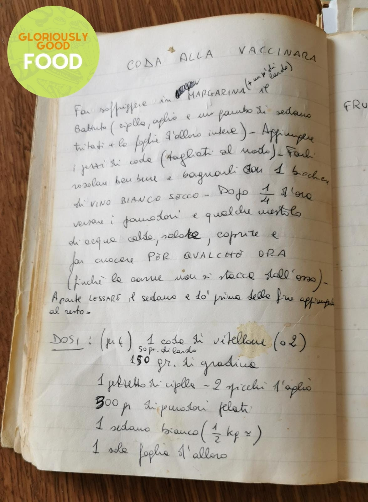 Hand-written 'coda alla vaccinara' recipe, written down by my auntie (zia Emilia) many years ago as she was about to get married and leave home.