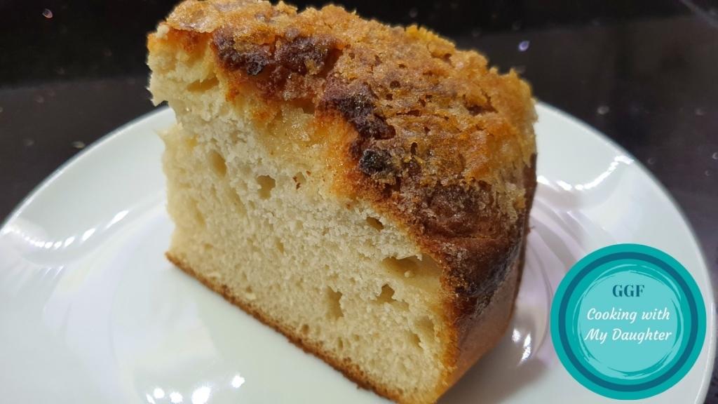 One slice of sweet focaccia